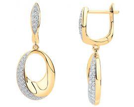 Boucles d'oreilles pendants plaqué or oxydes - 76400008