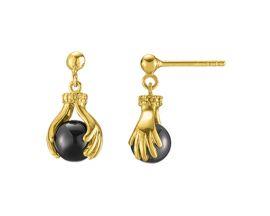 Boucles d'oreilles pendants argent doré hématites Jourdan - AMK091