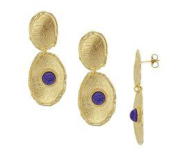 Boucles d'oreilles pendants argent doré lapis lazuli synth.Stepec - 313935DL