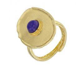 Bague argent doré lapis lazuli synth.Stepec - 311795DL