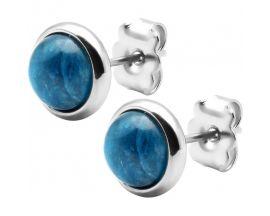 Boucles d'oreilles boutons acier apatite Stepec - IG 565