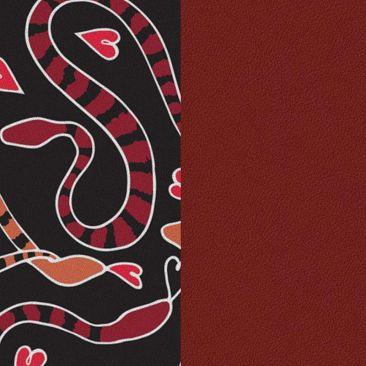 Cuir bracelet Les Georgettes - Serpent coeurs/Carmin 25 mm