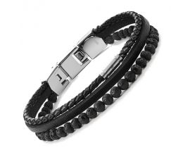 Bracelet cuir et acier Fossil - JF03620040