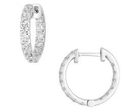 Boucles d'oreilles créoles diamant(s) synthétique(s) or blanc Diamanti - DS2025.21