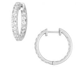 Boucles d'oreilles créoles diamant(s) synthétique(s) or blanc Diamanti - DS2026.21