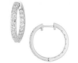 Boucles d'oreilles créoles diamant(s) synthétique(s) or blanc Diamanti - DS2027.21