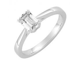 Bague solitaire or blanc & diamant synthétique Diamanti - DS1021.21