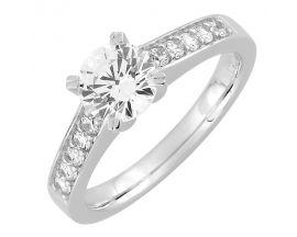 Bague solitaire or blanc & diamant(s) synthétique(s) Diamanti - DS1033.21