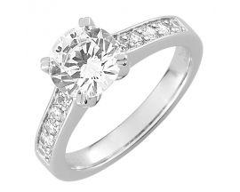 Bague solitaire or blanc & diamant(s) synthétique(s) Diamanti - DS1034.21