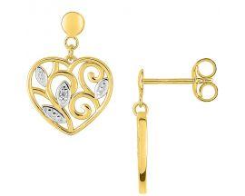 Boucles d'oreilles coeur pendants or oxydes Robbez Masson - 297099.Z3