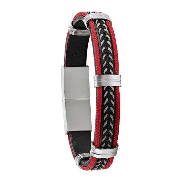 Bracelet acier & cuir Jourdan - JH150008B