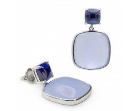 Boucles d'oreilles pendants argent & quartz LINEARGENT - 18053-B-A