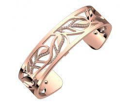Bracelet manchette Les Georgettes - Plumes Précieuses finition or rose 14 mm