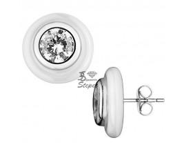 Boucles d'oreilles boutons céramique et argent Ceranity - 1-42-0022-B