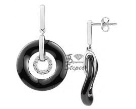 Boucles d'oreilles pendants céramique et argent Ceranity - 1-42-0039-N