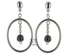 Boucles d'oreilles pendants céramique & acier Didier Defond - 843-008.N