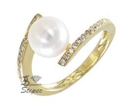 Bague perle d'eau douce & diamant(s) or Stepec - A1018B-J