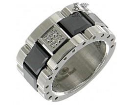 Bague céramique acier & diamants Stepec - aIJT