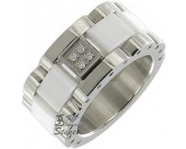 Bague céramique acier & diamants Stepec - aIJE