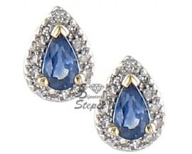 Boucles d'oreilles boutons or saphir(s)& diamant(s) H.Gringoire - PV 561 SFB/DTS