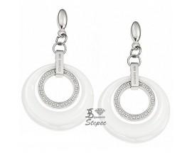 Boucles d'oreilles pendants céramique & acier Cerruti 1881 - R31330WZ