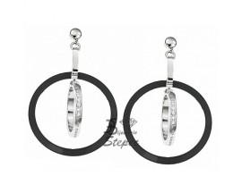 Boucles d'oreilles pendants céramique & acier Cerruti 1881 - R31332NZ