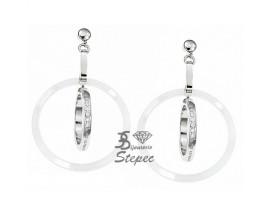 Boucles d'oreilles pendants céramique & acier Cerruti 1881 - R31332WZ