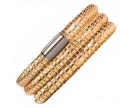 Bracelet cuir de veau véritable 3 rangs Endless JLO motif reptile doré - 1001-3