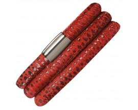 Bracelet cuir de veau véritable 3 rangs Endless JLO motif reptile rouge - 1002-3