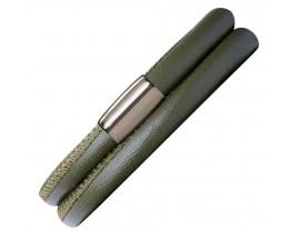 Bracelet cuir de veau véritable 2 rangs Endless vert - 12102-2