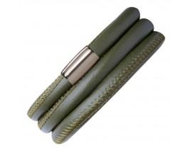 Bracelet cuir de veau véritable 3 rangs Endless vert - 12102-3