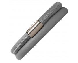 Bracelet cuir de veau véritable 2 rangs Endless gris - 12103-2