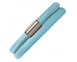 Bracelet cuir de veau véritable 2 rangs Endless bleu clair - 12111-2