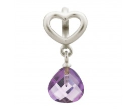 Charm argent Endless Amethyst Heart Grip Drop - 43273-5