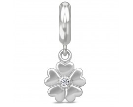 Charm argent Endless Heart Flower Drop - 43446